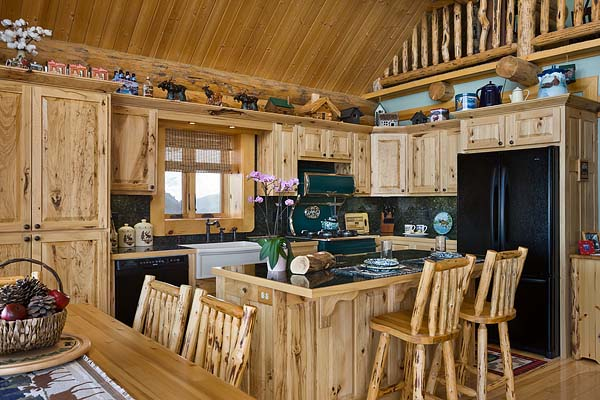 Gathering within the warmth of the cabin kitchen implant for Small log home kitchens